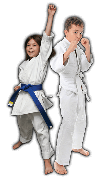 Martial Arts Lessons for Kids in Kansas City MO - Happy Blue Belt Girl and Focused Boy Banner